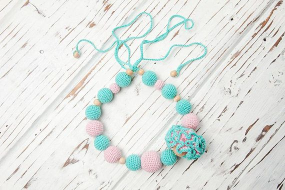 Turquoise blue pink crochet nursing necklace  Natural organic
