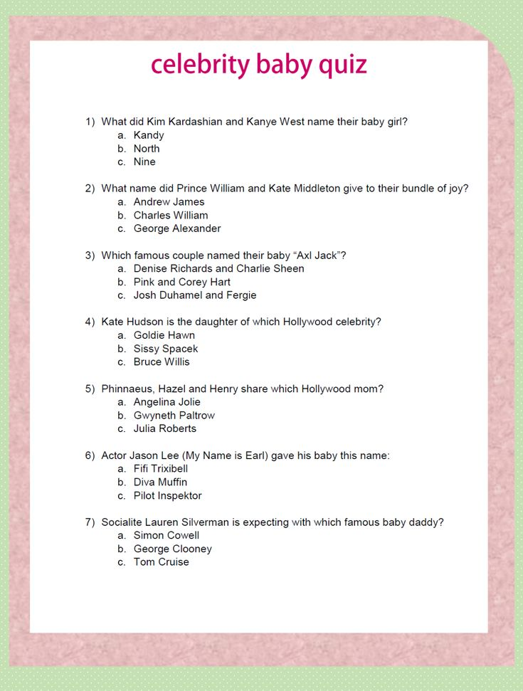 26 New Free Baby Shower Trivia Questions And Answers Baby Shower