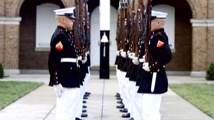 The Silent Drill Platoon exemplifies Marine Corps discipline, precision and skill. Members of the Silent Drill Platoon are handpicked to represent the Marine Corps. Through intense practice, they learn to perform precise rifle drill movements flawlessly for audiences across America—without a single verbal command ever being spoken.