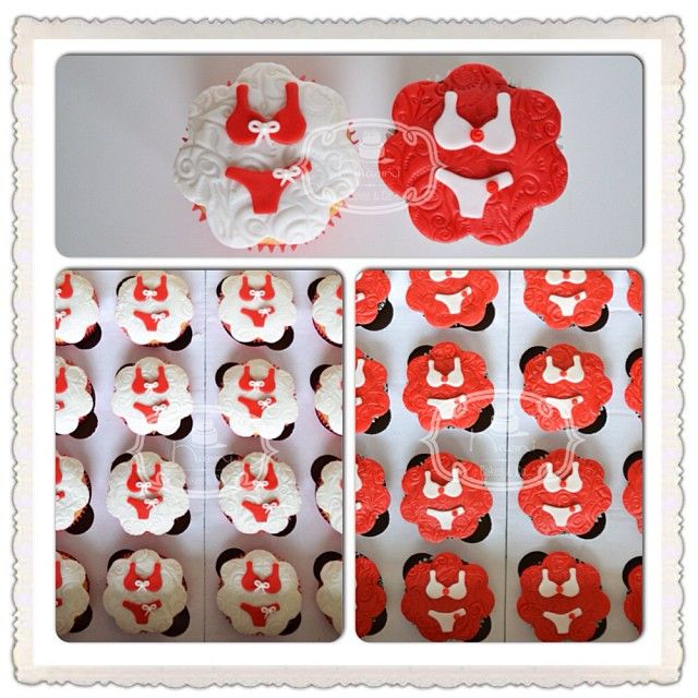 Chá de Lingerie (Lingerie Shower) -  Cupcakes de Bem Casado, decorados com Pasta Americana.