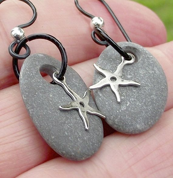Hypoallergenic. Starfish and Sea pebble ear rings. Stone drop ear rings. Sterling silver and niobium Spanish jewelry