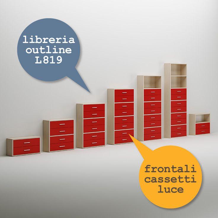 #Libreria Outline #cassetti luce. Catalogo complementi. www.moretticompact.com