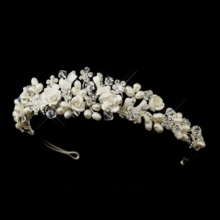 Lovely Flower and Freshwater Pearl Wedding Tiara - Affordable Elegance Bridal -