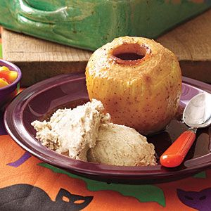 Halloween menu | Baked Apples with Cinnamon Ice Cream | AllYou.com