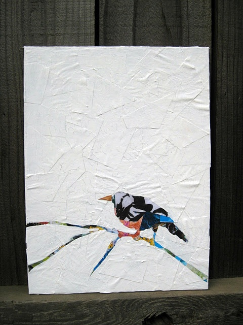 """Op een stevige ondergrond ( insmeren met behangerslijm.kleuterlijm) met wit papier """"kreukels""""maken. Daarna een afbeelding met tijdschriften papier maken."""