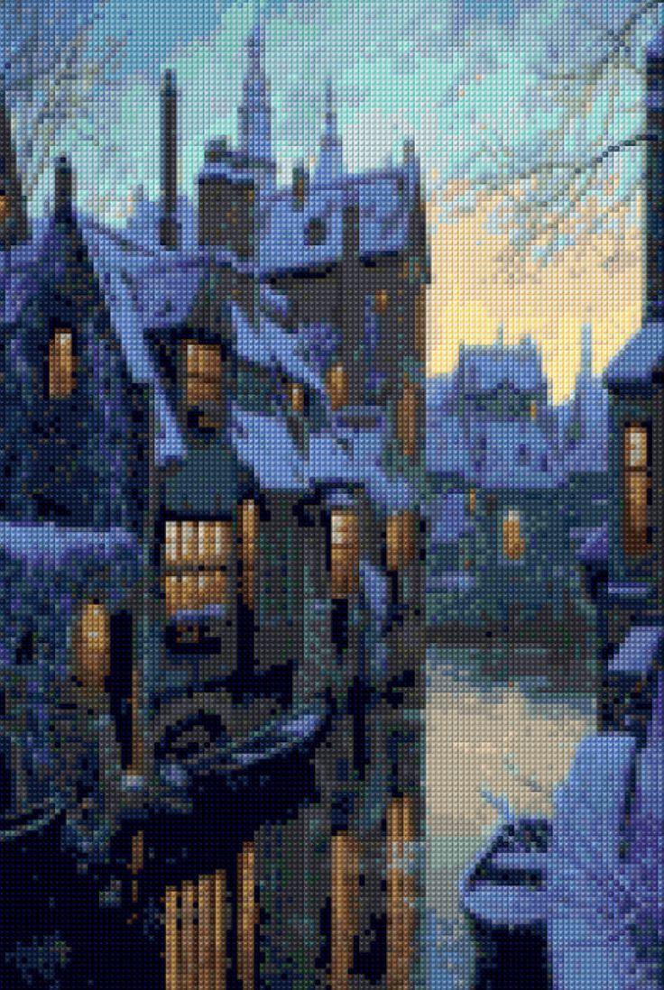 Romantic Bruges Belgium Twilight Cross Stitch pattern PDF - Instant Download! by PenumbraCharts on Etsy