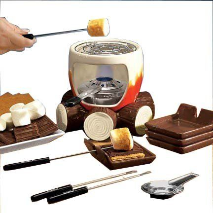 Plow & Hearth Indoor S'mores Maker - Campfire Design with Roasting Sticks and Serving Plates - Glazed and Painted Ceramic, Metal and Wood - 6'' dia. x 6''H. Shopswell | Shopping smarter together.™