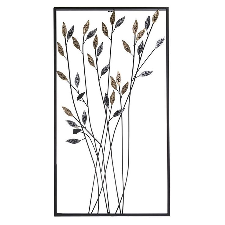 METAL WALL DECO W/LEAVES 47X2X85 - Metallic - PAINTINGS
