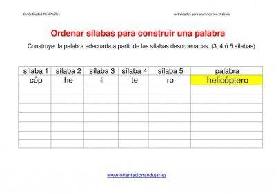 Actividades dislexia Ordenar sílabas Dejamos Plantilla editable - Orientacion Andujar