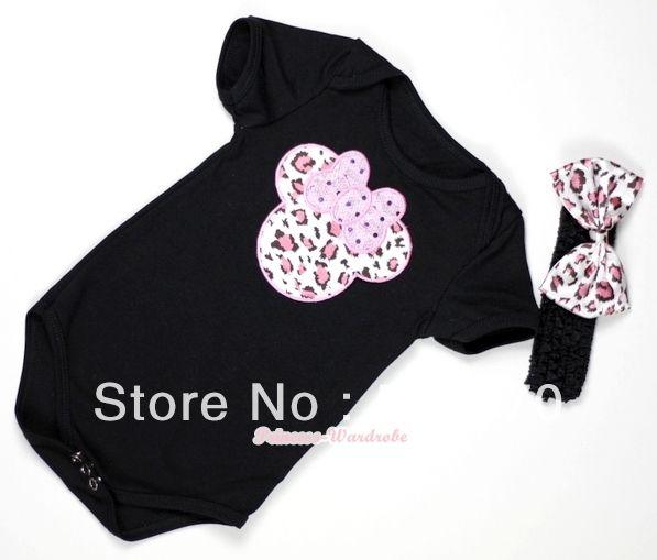 Черный ребенок комбинезон с светло-розовый леопард минни печать с черный повязка на голову и светло-розовый леопард атласный бант MATH310