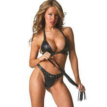 Nieuwe ontwerp faux lederen lingerie set erotische verstelbare gesp beha& g- string fetish latex lingerie sex lingerie zwarte paar spel(China (Mainland))