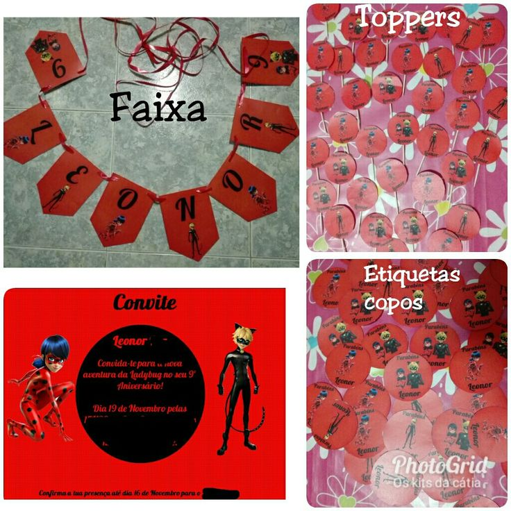Kit #ladybug  #oskitsdacátia #ladybug #faixa #bandeiras #toppers #convite #etiquetascopos