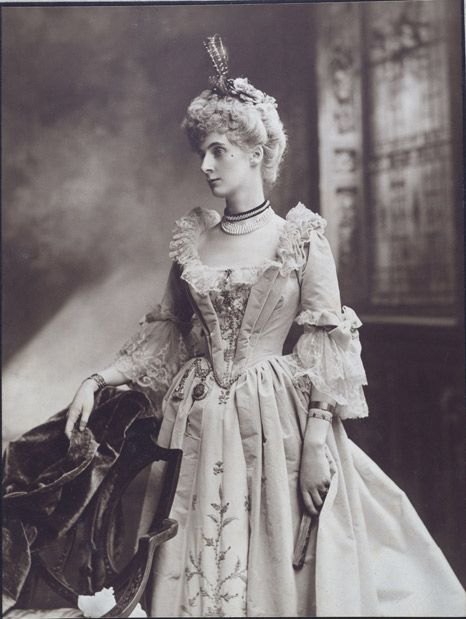 Lady Evelyn Cavendish, later Duchess of Devonshire (1870-1960), as a Lady at the Court of the Empress Maria Theresa [1745-65], at the Devonshire House Diamond Jubilee Ball, 1897 London