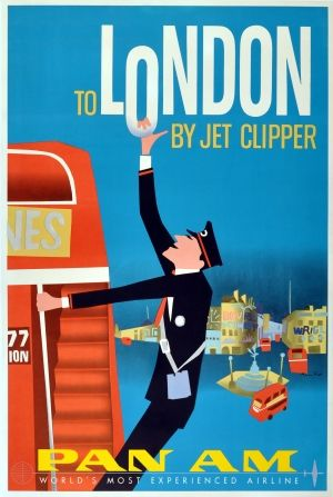 London by Jet Clipper Pan Am, 1950s - original vintage poster by Aaron Fine listed on AntikBar.co.uk
