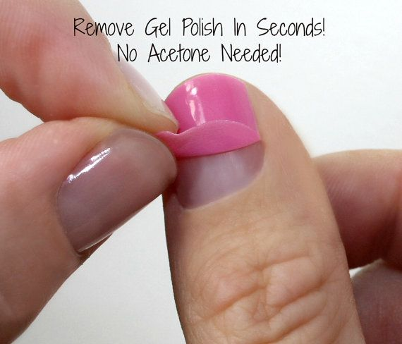 OMG I wish I had found these sooner! Removes gel polish in seconds and WITHOUT acetone!!