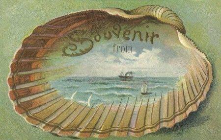 Pretty Edwardian Era Beach Souvenir Travel Postcard