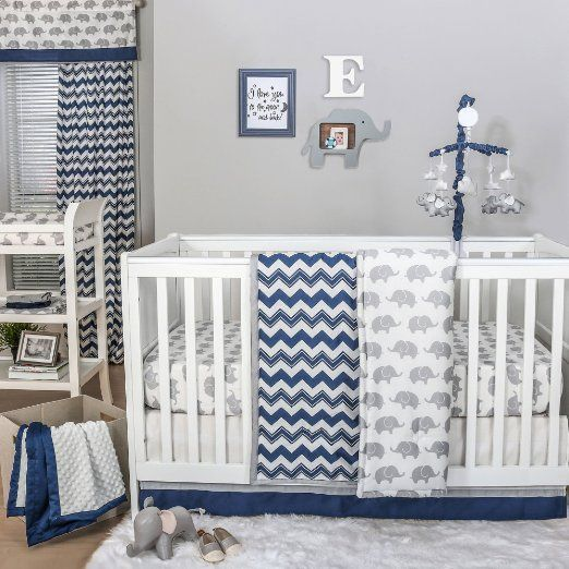 Navy Chevron And Grey Elephant 4 Piece Baby Crib Bedding