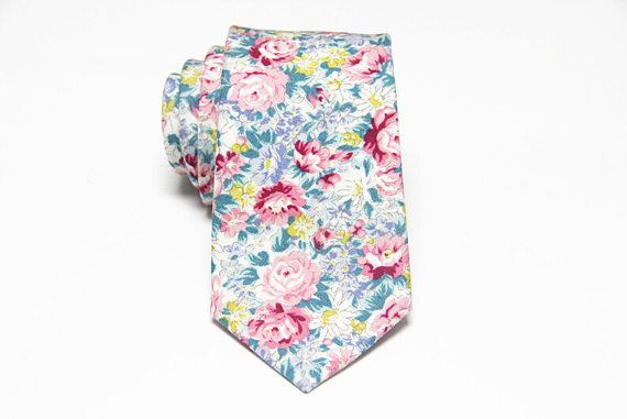 Turquoise and Rose Pink Floral Tie.Mens Tie.Necktie for by HeySir