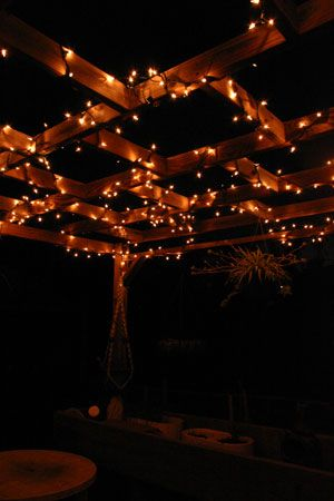 *love for outside sitting area in backyard   pergola lighting