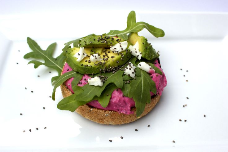Beetroot humous bagel with avocado