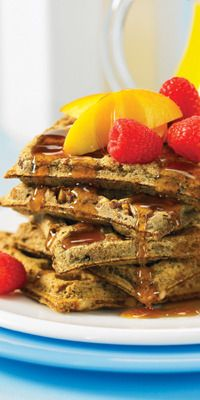 WALNUT FLAX WAFFLES You might try these waffles because of all you've heard about the benefits of flax seeds..  2 tablespoons vegetable oil  1 tablespoon pure maple syrup  2 teaspoons vanilla extract  1-1/2 teaspoons cider vinegar  3 tablespoons ground flax seeds (flaxseed meal)  1 cup whole wheat flour  1-1/2 teaspoons baking powder  1/2 teaspoon baking soda  1/8 teaspoon fine sea salt  1/2 cup chopped toasted walnuts  nonstick cooking spray