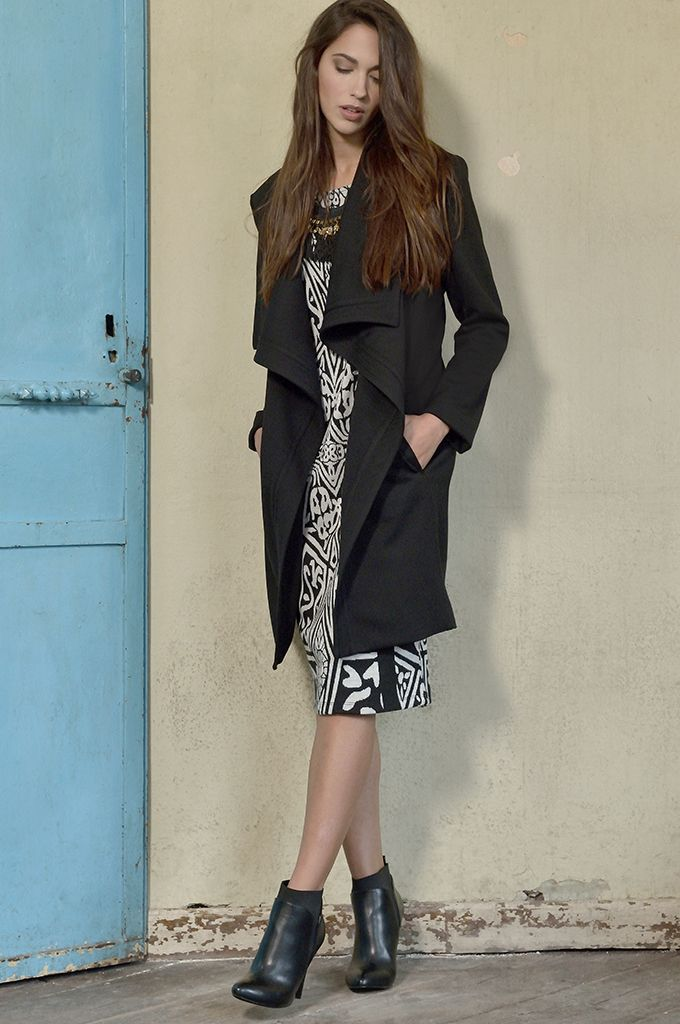Sarah Lawrence - belted coat with oversized collar, short sleeve jacquard dress.