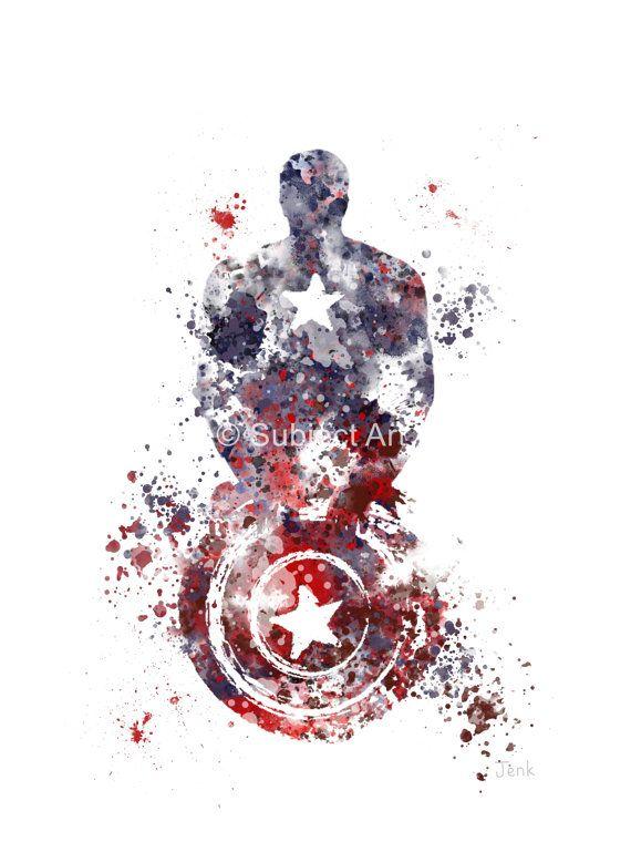 Ilustración de la impresión del arte de América, superhéroe, decoración casera, arte de la pared, Marvel el capitán