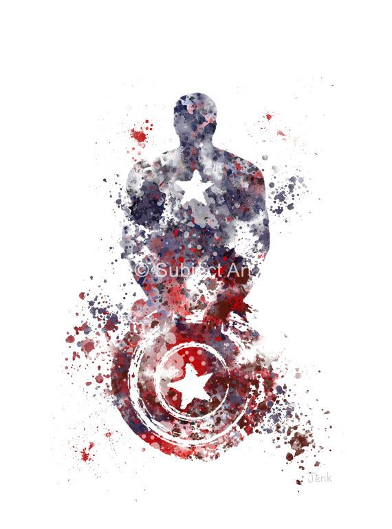 Captain America ART PRINT illustration Superhero by SubjectArt
