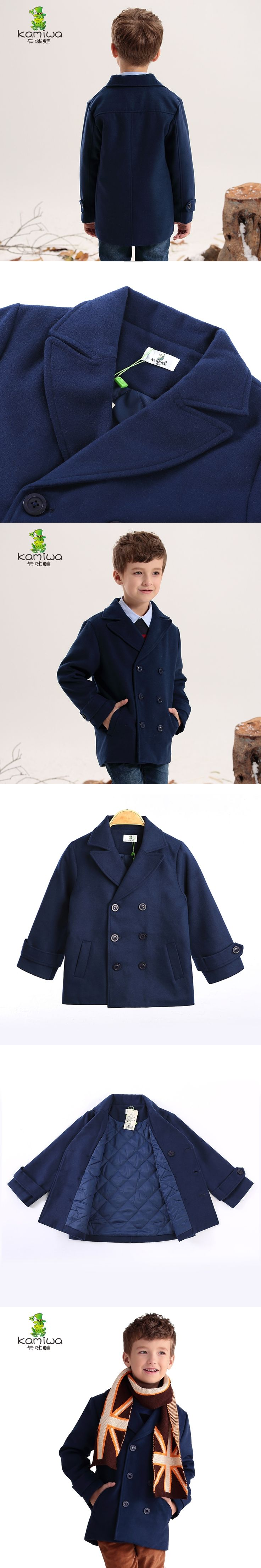 KAMIWA 2017 Woolen Boys Winter Coats Thickening Cotton-padded Jackets Autumn Outerwear Children'sClothing Kids Clothes