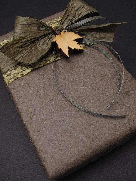 Chocolate Autumn . Rustic Brown Gift Wrapping Credit with Wood Leaf Charm - Timber Green Woods