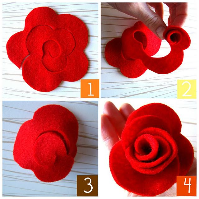 How to make simple felt flowers - red roses!