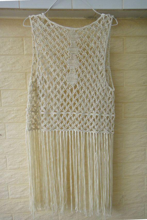 Boho Festival Crochet Fringe Vest Summer by Tinacrochetstudio