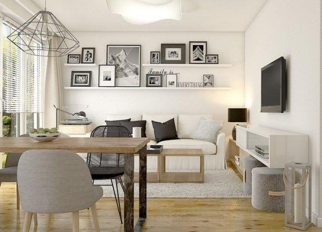 Kleines Wohn Esszimmer Holzboden Wand Bilderleiste Weisses Sofa