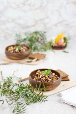 Kindeybohnen Salat mit Feta & Harissa Sauce I Salad with Kidney Beans, Feta & Harissa Sauce