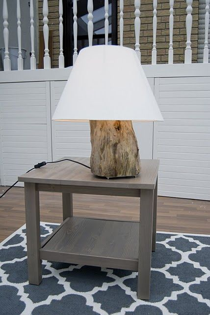 DIY Table Lamp Of A Tree Stump | Shelterness