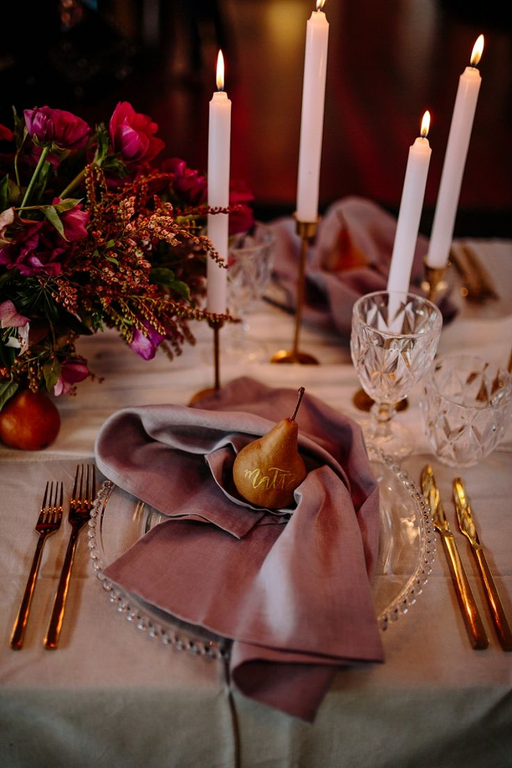 romantic winter or fall wedding inspiration - wedding table setting