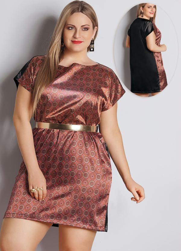 Vestido túnica cetim Plus Size Quintess, confeccionado em cetim com elastano. Modelo com corte reto e decote canoa. Manga Curta. Comprimento: Básico.