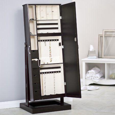 Amazon.com - Belham Living Bordeaux Locking Cheval Mirror Jewelry Armoire - Bedroom Armoires