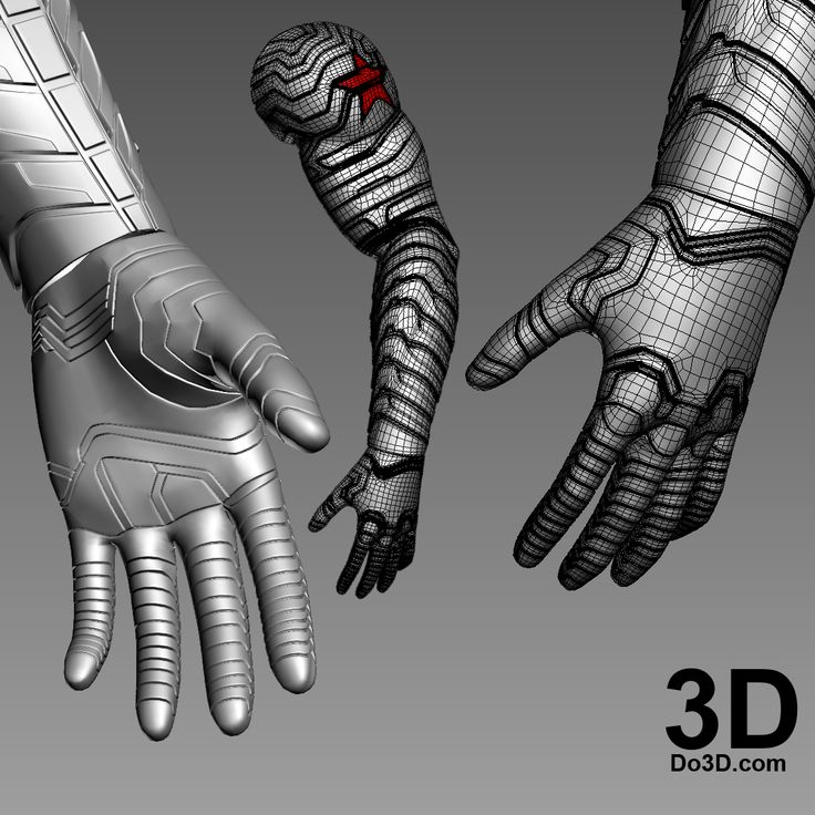3D Printable Model of Winter Soldier Bucky Arm, Glove, Fingers from Captain America Civil War   Print File Formats: STL OBJ – Do3D.com