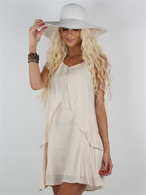 Zanca Sonne - Cremefarvet boheme kjole i Charlston look med flæser