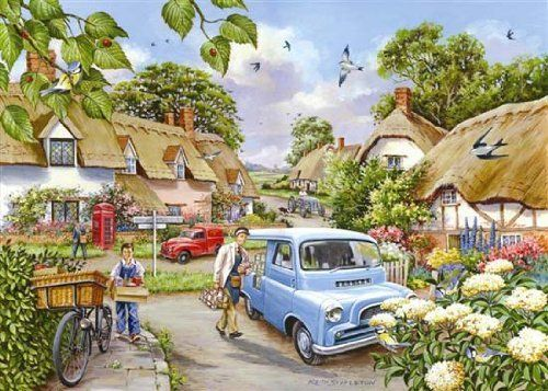Big 500 Piece Jigsaw Puzzle Morning Fresh - Village Scene by The House of Puzzles