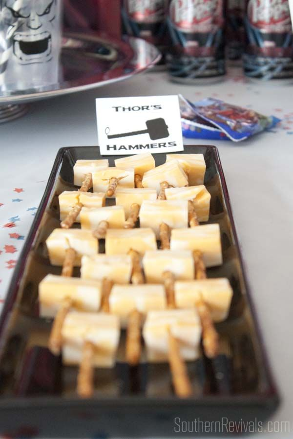 Avengers Party:cool, cheese cube and pretzel stick Thor hammers.