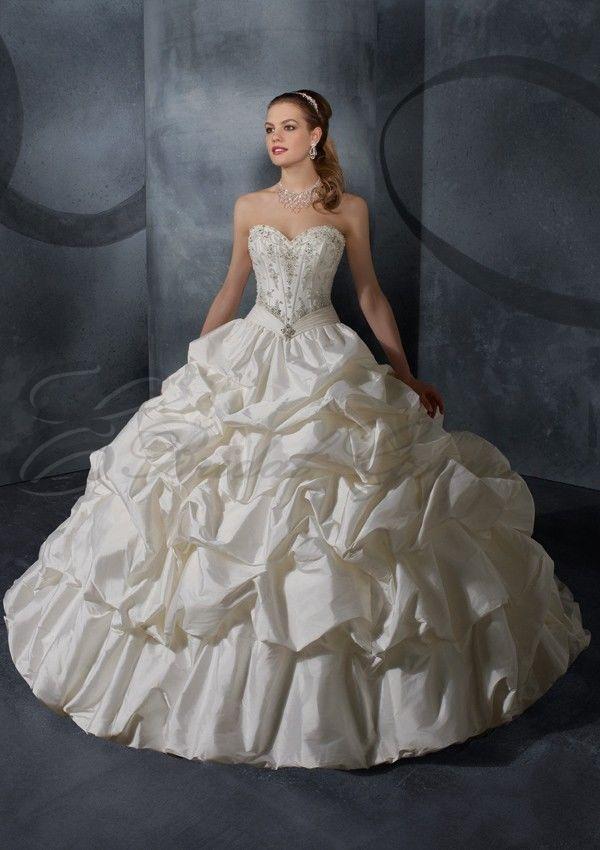 Silky Taffeta with Embroidery Stitched Boning Bodice A-line Wedding Dress