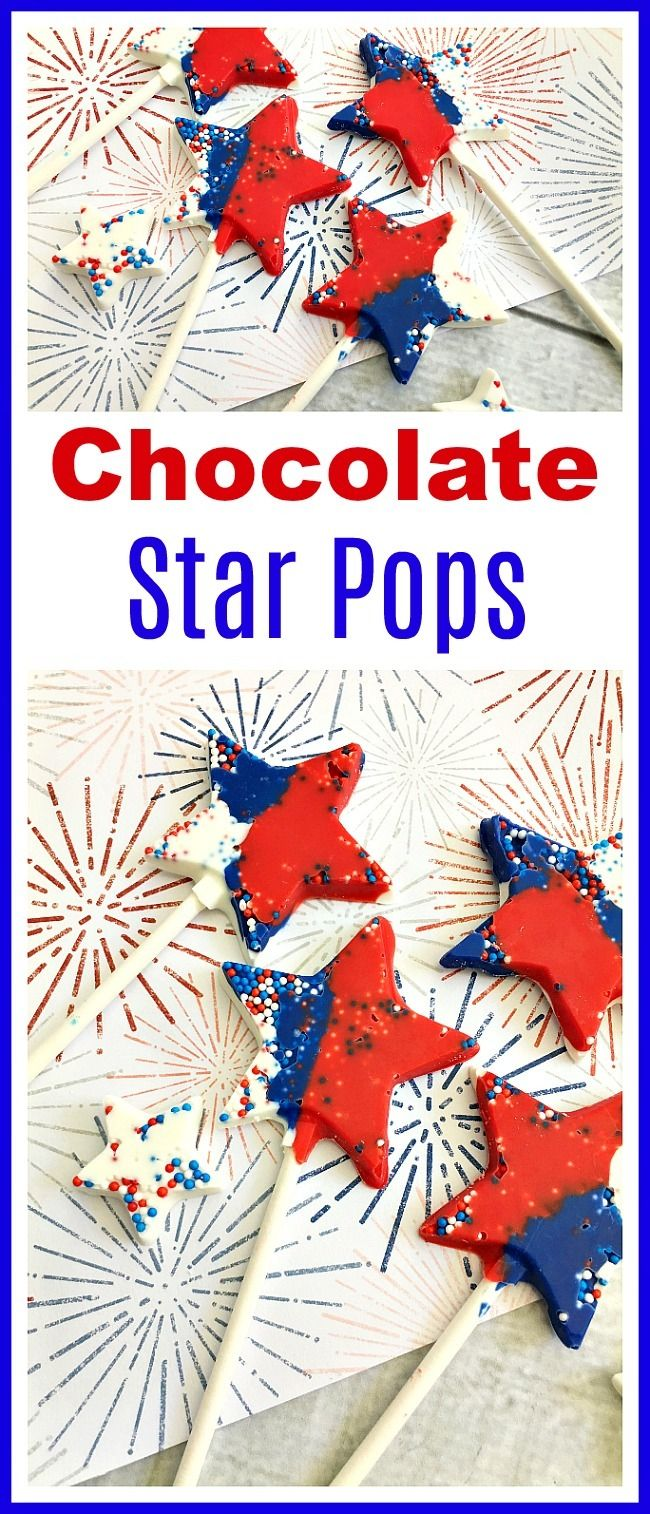 Chocolate Star Pops- These chocolate star pops are a colorful, fun, and easy to make dessert treat that's perfect for holidays like 4th of July and special celebrations! - from acultivatednest.com