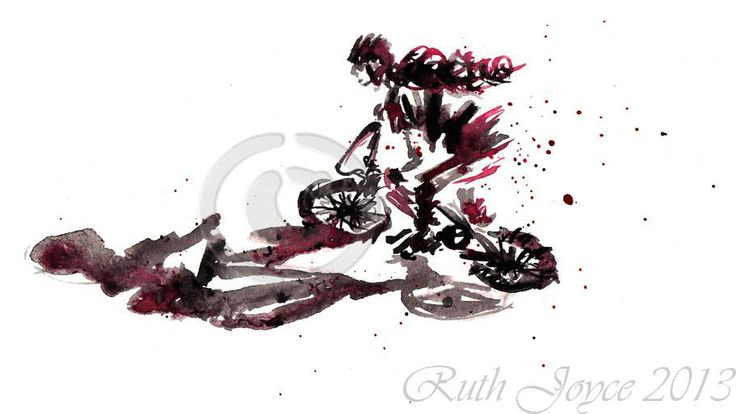 Red and black #BXM girl. #art #sport #bike #cycling #ruthjoyceart