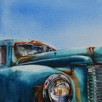 "Watercolor ""oldtimer with rust"" 18 x 18 cm  - Joke Klootwijk -"