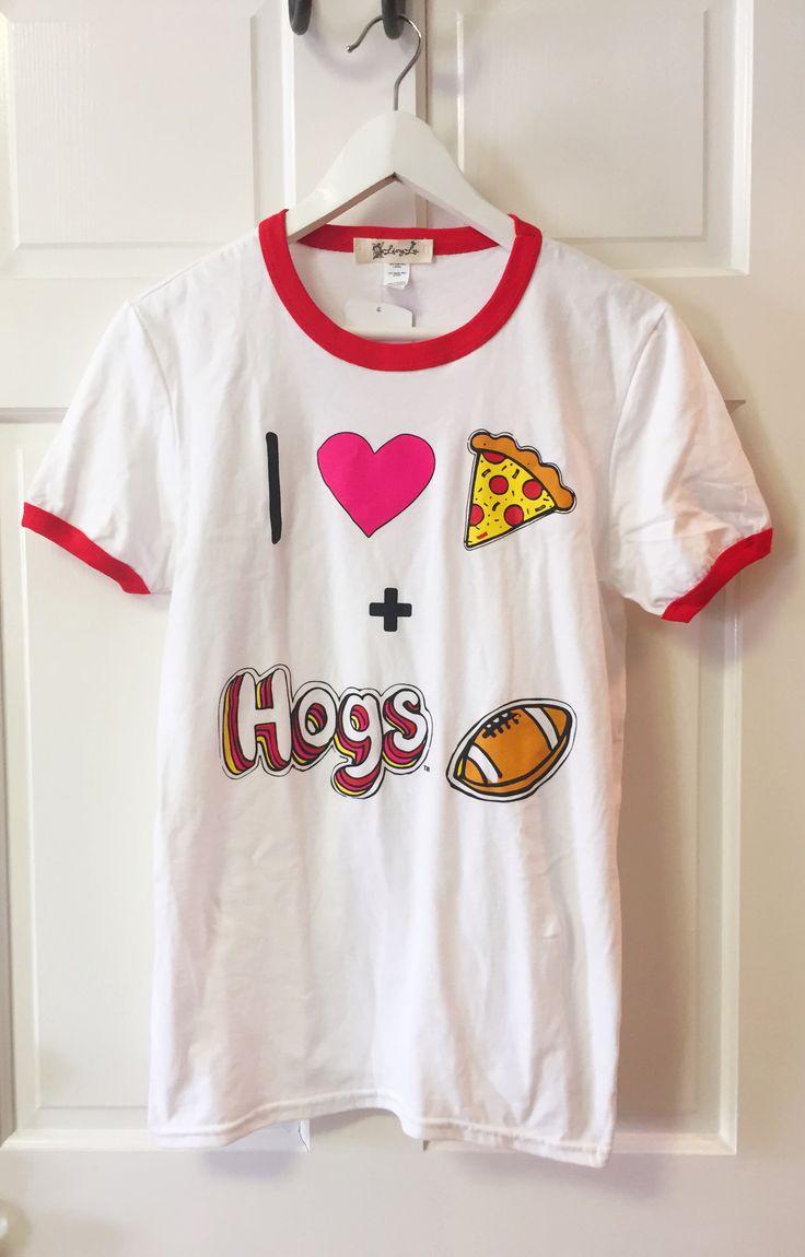 I Heart Hogs Football White & Red Ringer Tee