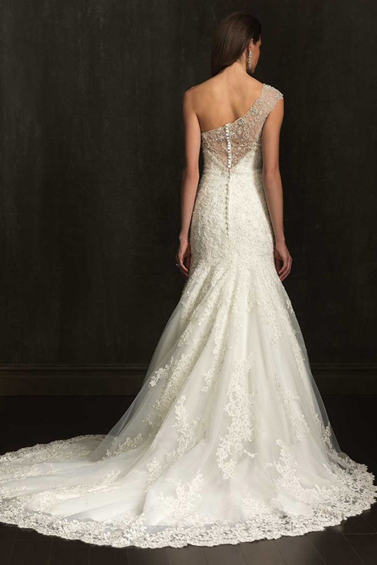 2014 One Shoulder Mermaid/Trumpet Wedding Dress Lace Bodice With Applique Beaded