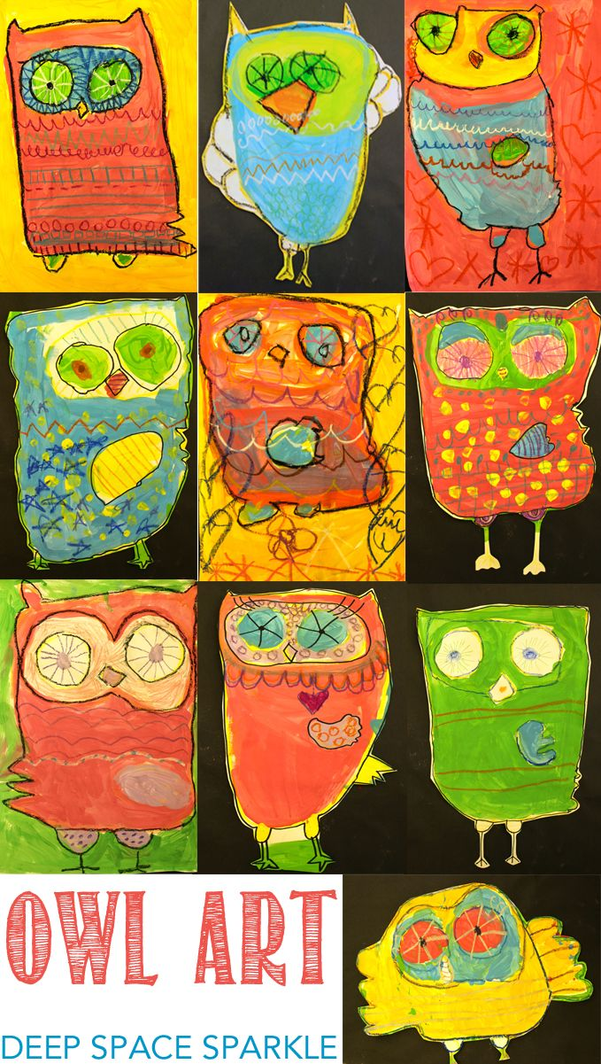 Teach your kids how to draw and paint a cute, colorful owl. Owl art project for kids.