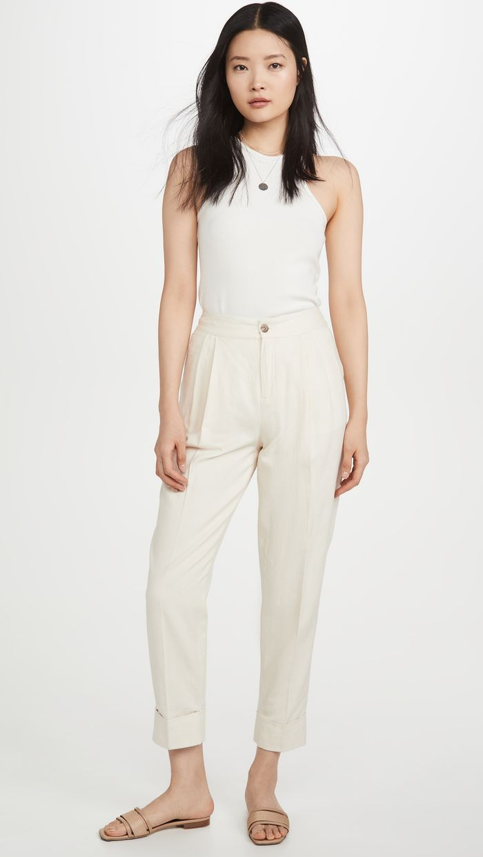 The Chic Anti Loungewear Trend I Want To Wear This Summer Tailored Pants Outfit Tailored Pants Simple Outfits [ 1241 x 700 Pixel ]